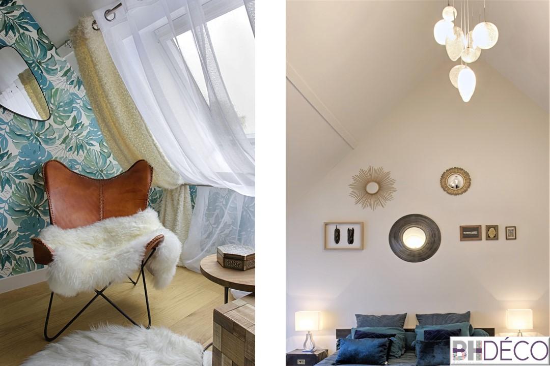 BH-Déco - suite parentale chambre jungle bleu vert miroirs salle de bain marbre 2.5