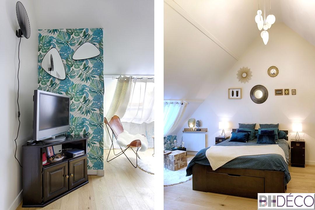 BH-Déco - suite parentale chambre jungle bleu vert miroirs salle de bain marbre 2