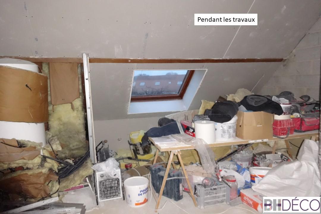 BH-Déco - suite parentale chambre jungle bleu vert miroirs salle de bain marbre 3 avant