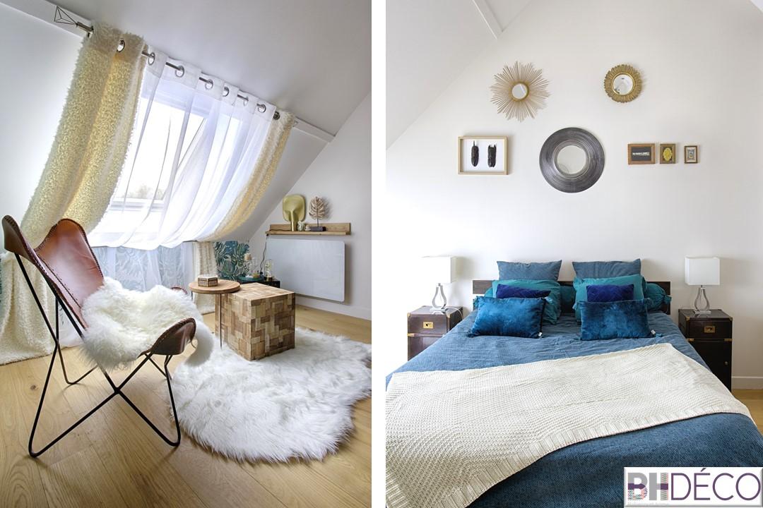 BH-Déco - suite parentale chambre jungle bleu vert miroirs salle de bain marbre 3