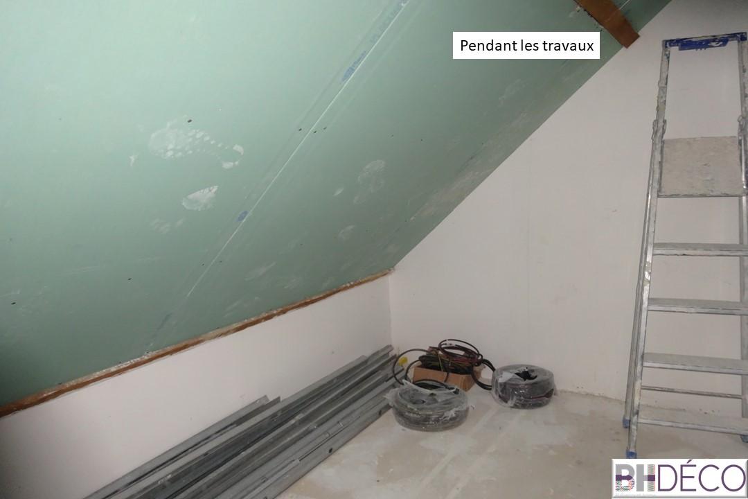 BH-Déco - suite parentale chambre jungle bleu vert miroirs salle de bain marbre 4 avant