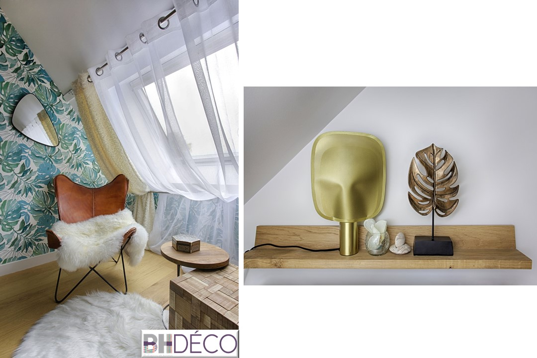 BH-Déco - suite parentale chambre jungle bleu vert miroirs salle de bain marbre 4