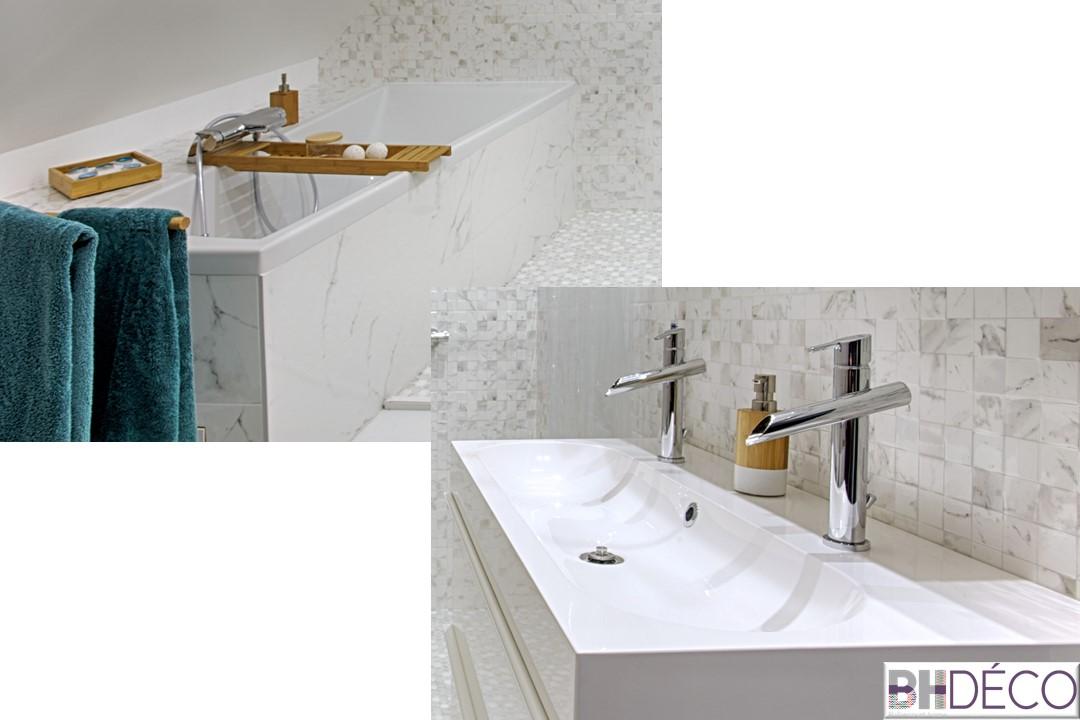 BH-Déco - suite parentale chambre jungle bleu vert miroirs salle de bain marbre 6.5