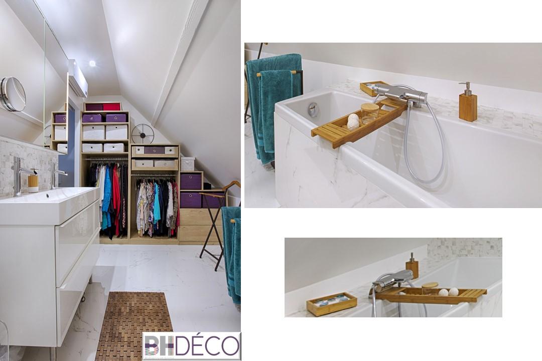 BH-Déco - suite parentale chambre jungle bleu vert miroirs salle de bain marbre 7