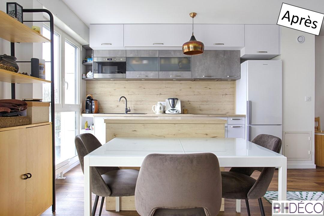 BH-déco rénovation séjour cuisine ouverture cloison cuisine sol pvc clipsable bois 10
