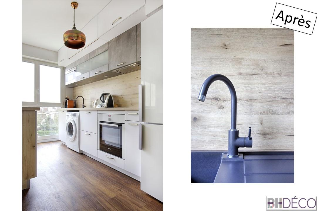 BH-déco rénovation séjour cuisine ouverture cloison cuisine sol pvc clipsable bois 11