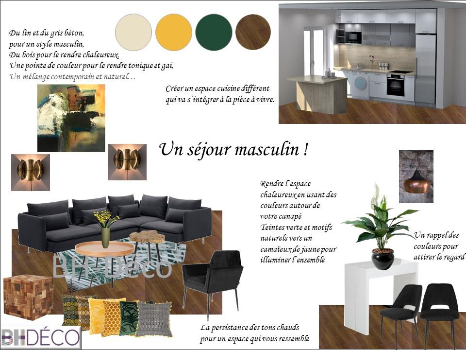 planche d'ambiance Séjour cuisine vert jaune bois matieres naturelles Orsay